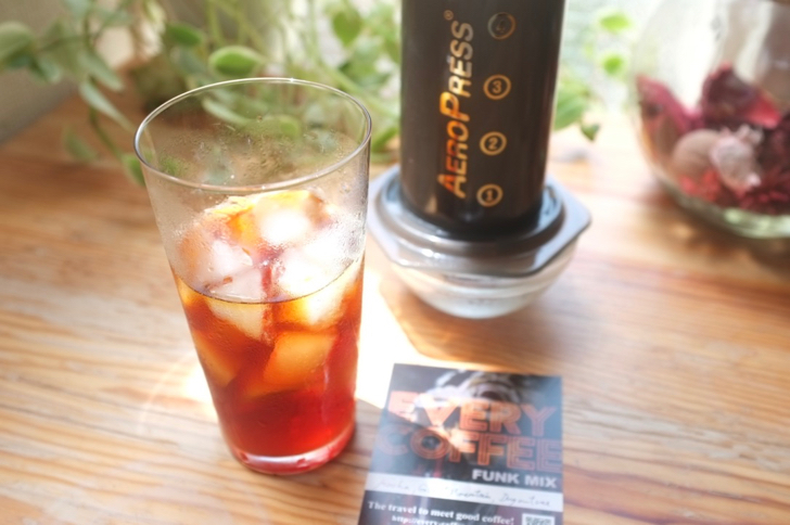 エアロプレスのアイスコーヒー